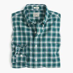 J. CREW Secret Wash Slim Fit Holiday Plaid Shirt M
